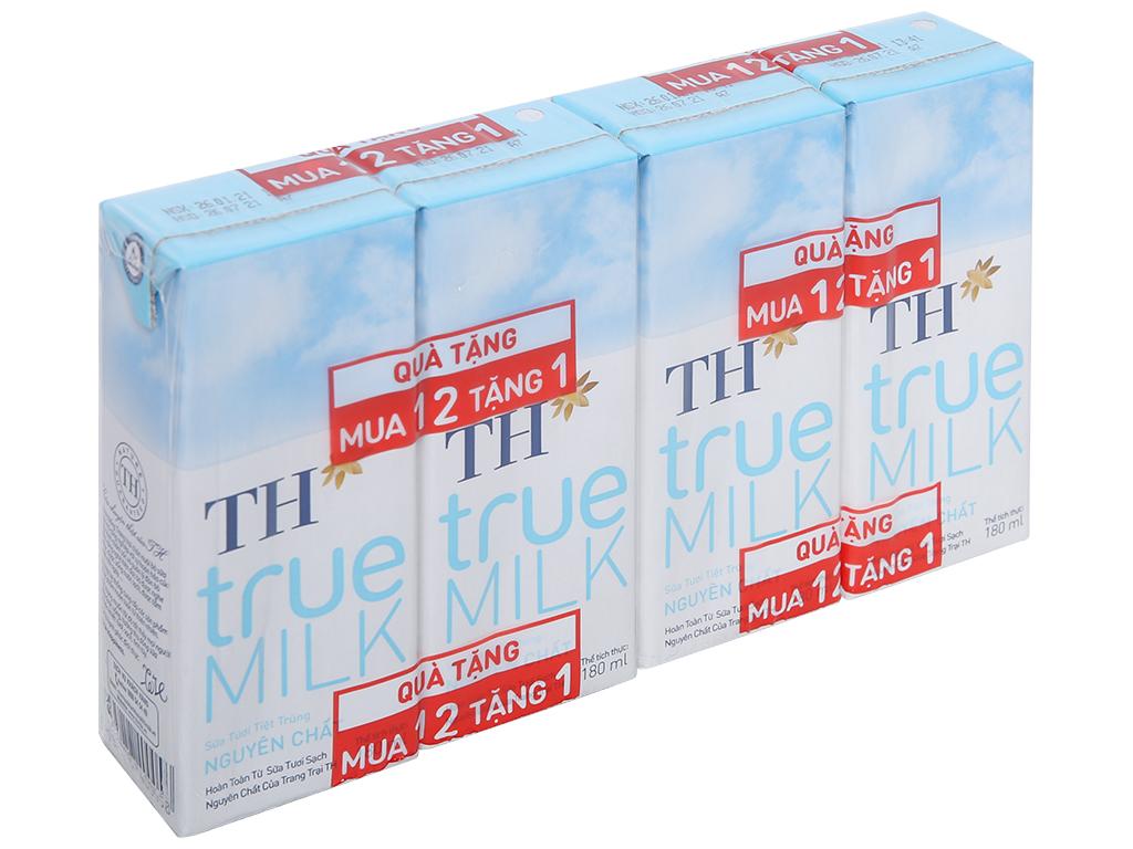 Lốc 4 hộp sữa tươi tiệt trùng nguyên chất không đường TH true MILK 180ml 1