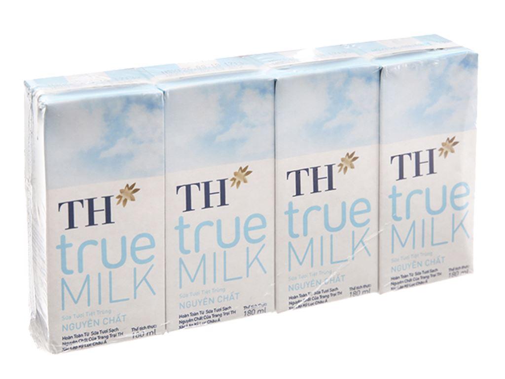 Lốc 4 hộp sữa tươi tiệt trùng nguyên chất không đường TH true MILK 180ml 7