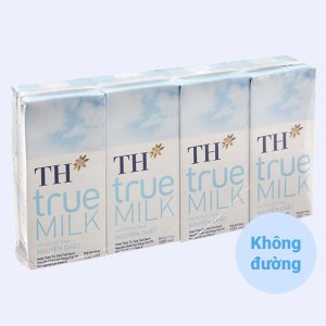 Lốc 4 hộp sữa tươi tiệt trùng nguyên chất không đường TH true MILK 180ml