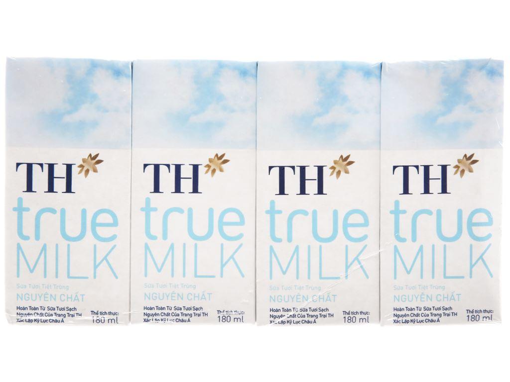 Lốc 4 hộp sữa tươi tiệt trùng nguyên chất không đường TH true MILK 180ml 2