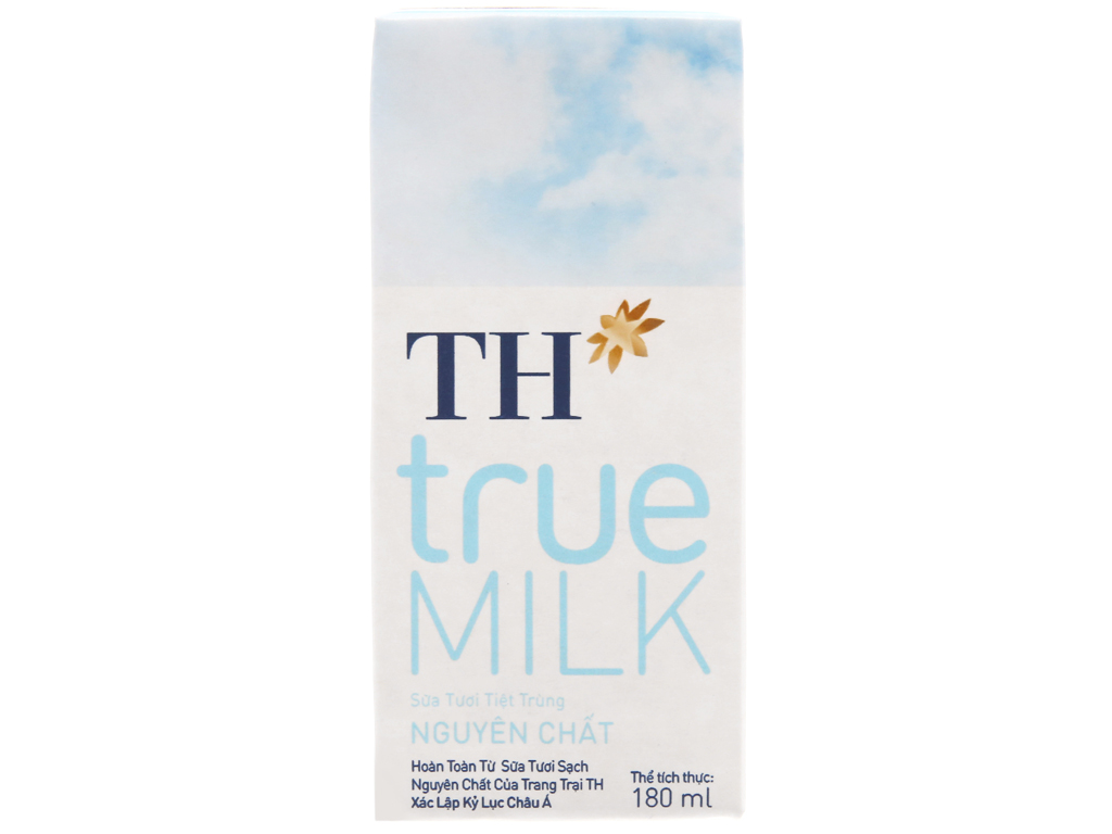 Lốc 4 hộp sữa tươi tiệt trùng nguyên chất không đường TH true MILK 180ml 3