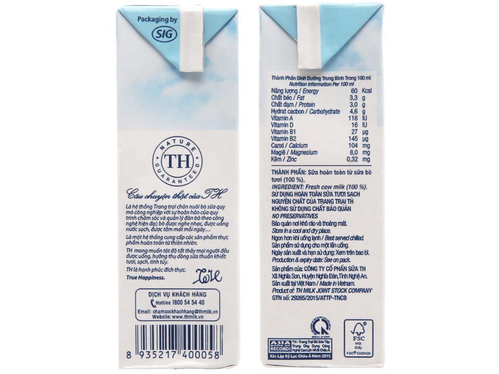 Lốc 4 hộp sữa tươi tiệt trùng TH true MILK nguyên chất 180ml 5