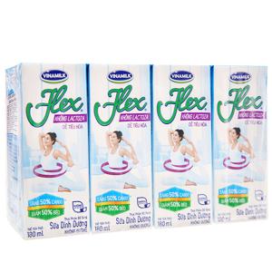 Lốc 4 hộp sữa dinh dưỡng không đường Vinamilk Flex không lactoza 180ml