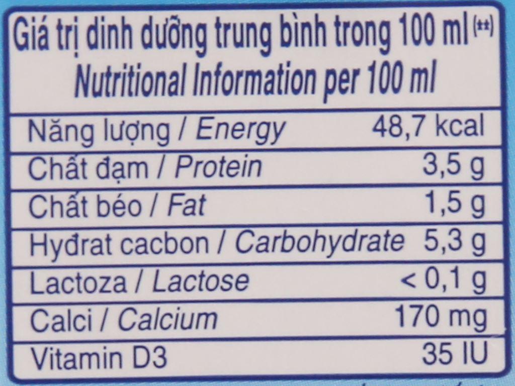 Lốc 4 hộp sữa Vinamilk Flex không Lactoza không đường 180ml 6