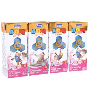 Lốc 4 hộp sữa dinh dưỡng Vinamilk ADM Gold hương dâu 180ml