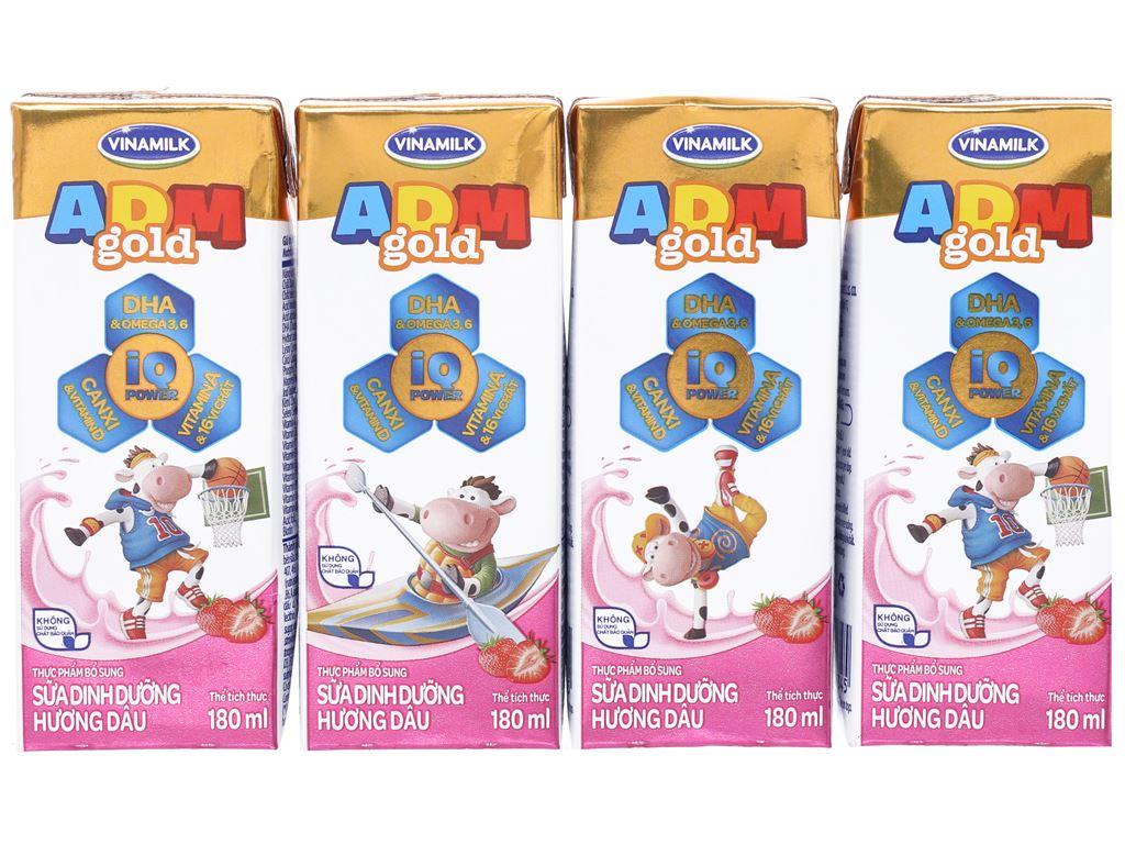 Lốc 4 hộp sữa dinh dưỡng hương dâu Vinamilk ADM Gold 180ml 1