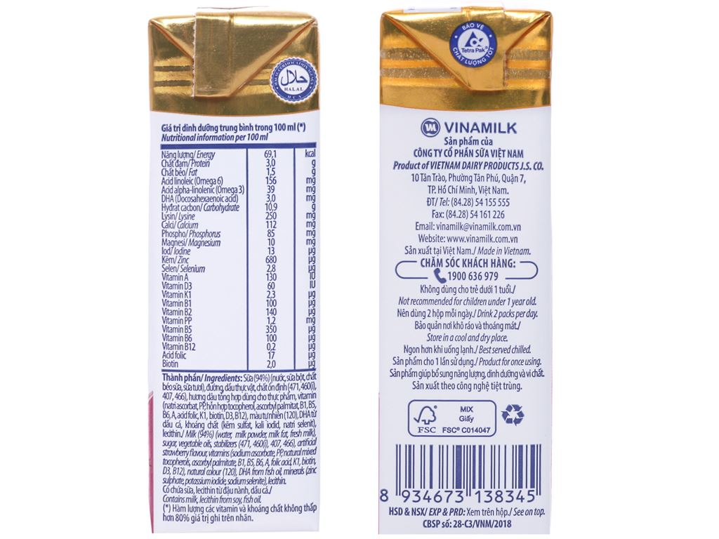 Lốc 4 hộp sữa dinh dưỡng hương dâu Vinamilk ADM Gold 180ml 4