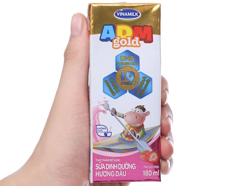 Lốc 4 hộp sữa dinh dưỡng hương dâu Vinamilk ADM Gold 180ml 5