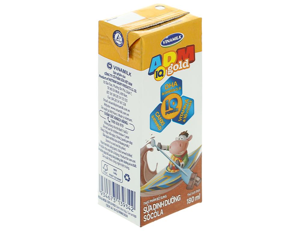 Lốc 4 hộp sữa dinh dưỡng socola Vinamilk ADM Gold 180ml 6