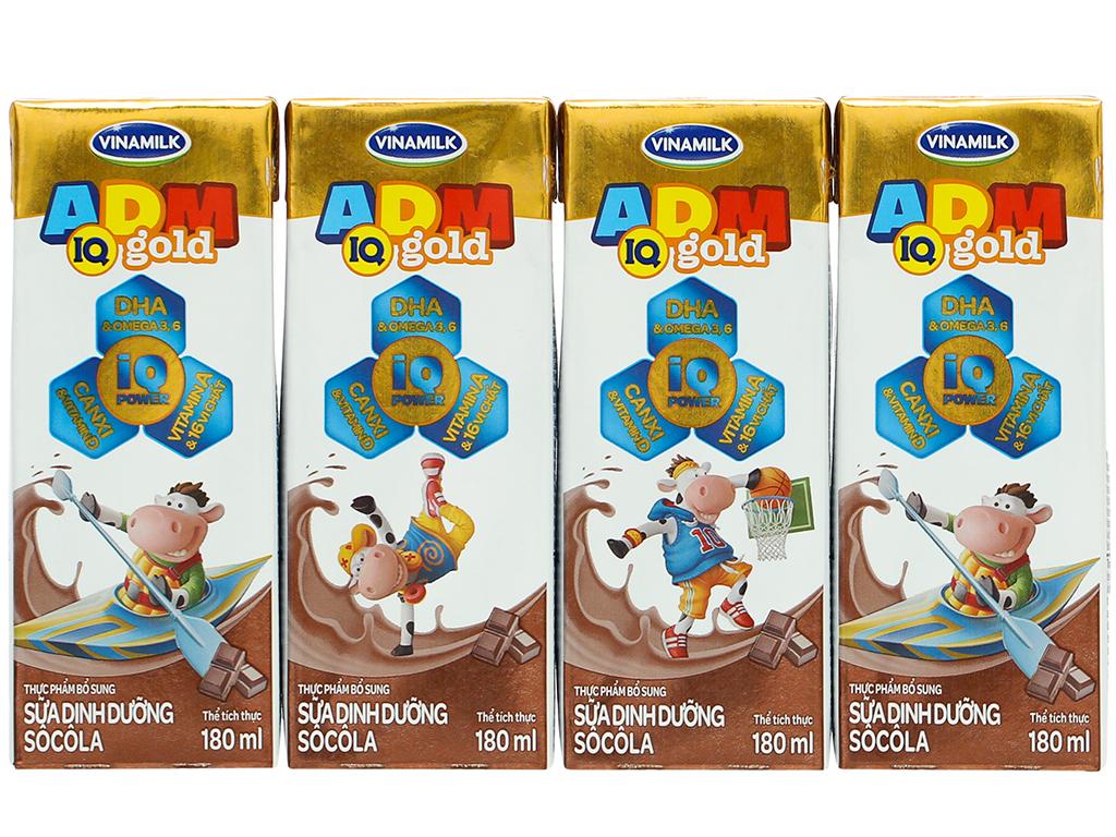 Lốc 4 hộp sữa dinh dưỡng socola Vinamilk ADM Gold 180ml 8