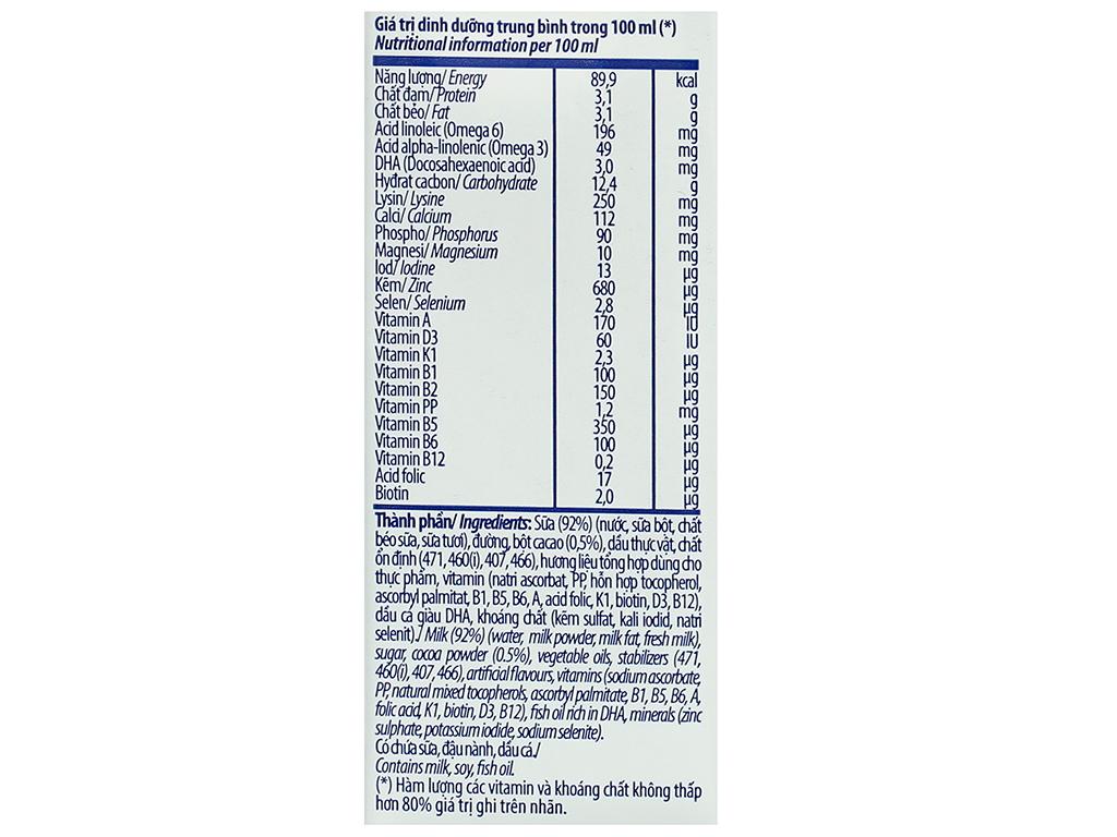 Lốc 4 hộp sữa dinh dưỡng socola Vinamilk ADM Gold 180ml 14