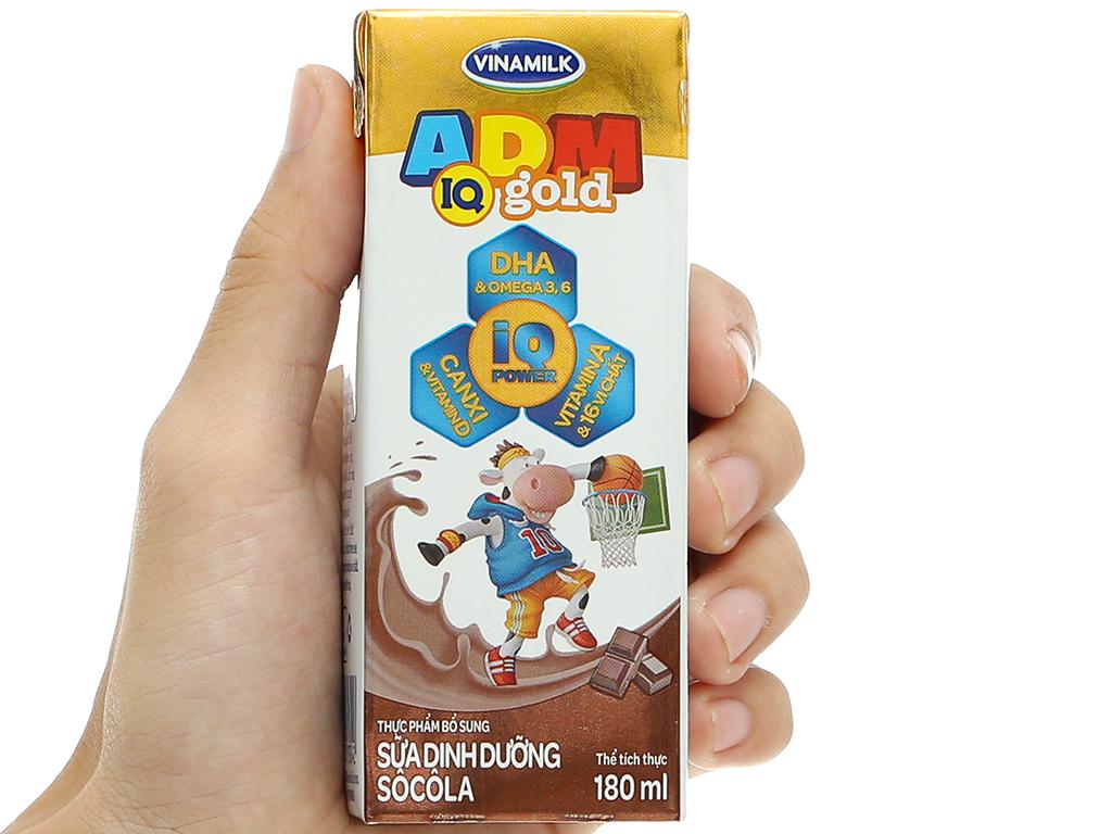 Lốc 4 hộp sữa dinh dưỡng socola Vinamilk ADM Gold 180ml 15
