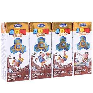 Lốc 4 hộp sữa dinh dưỡng Vinamilk ADM Gold sô cô la 180ml