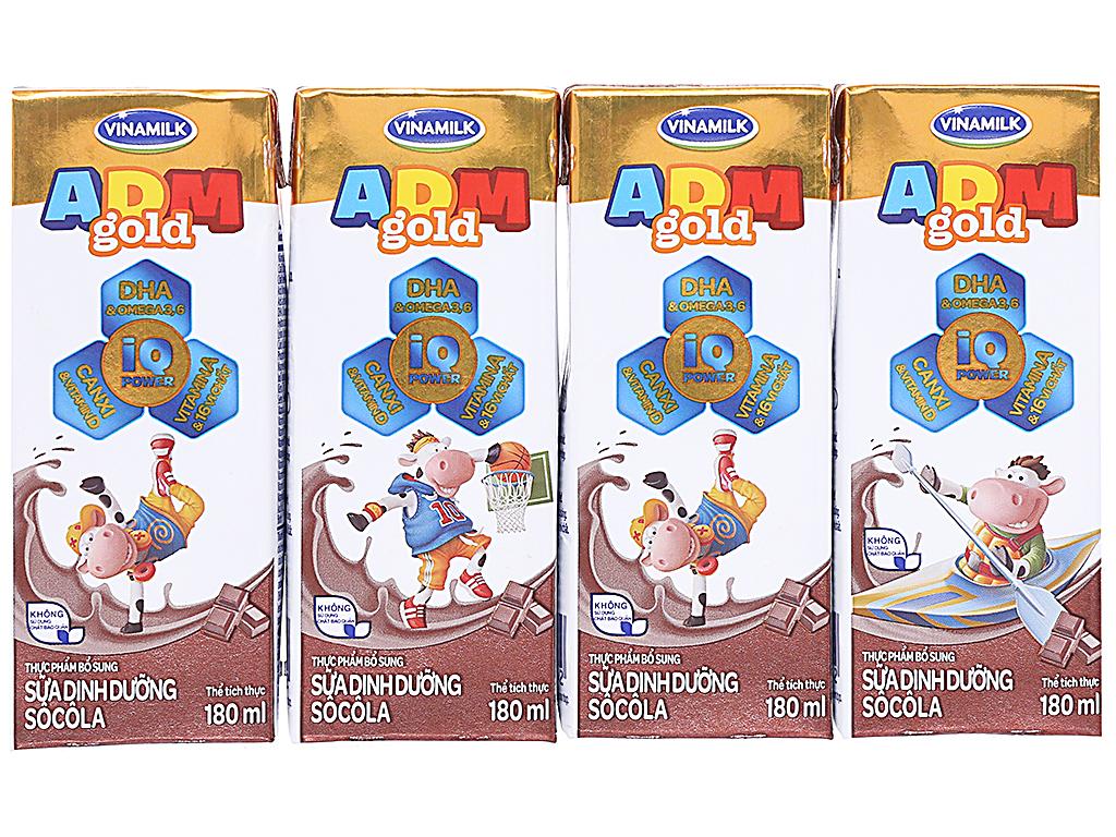 Lốc 4 hộp sữa dinh dưỡng Vinamilk ADM Gold sô cô la 180ml 1