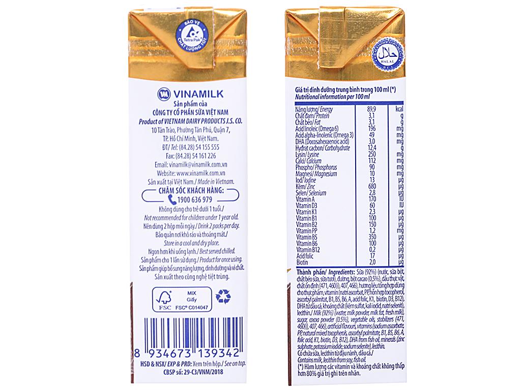 Lốc 4 hộp sữa dinh dưỡng Vinamilk ADM Gold sô cô la 180ml 4