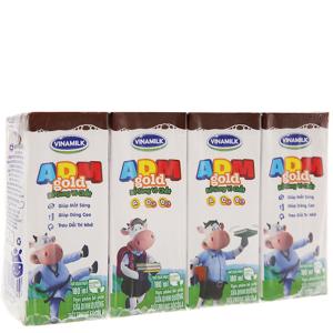 Lốc 4 hộp sữa tiệt trùng Vinamilk ADM Gold sô cô la 180ml