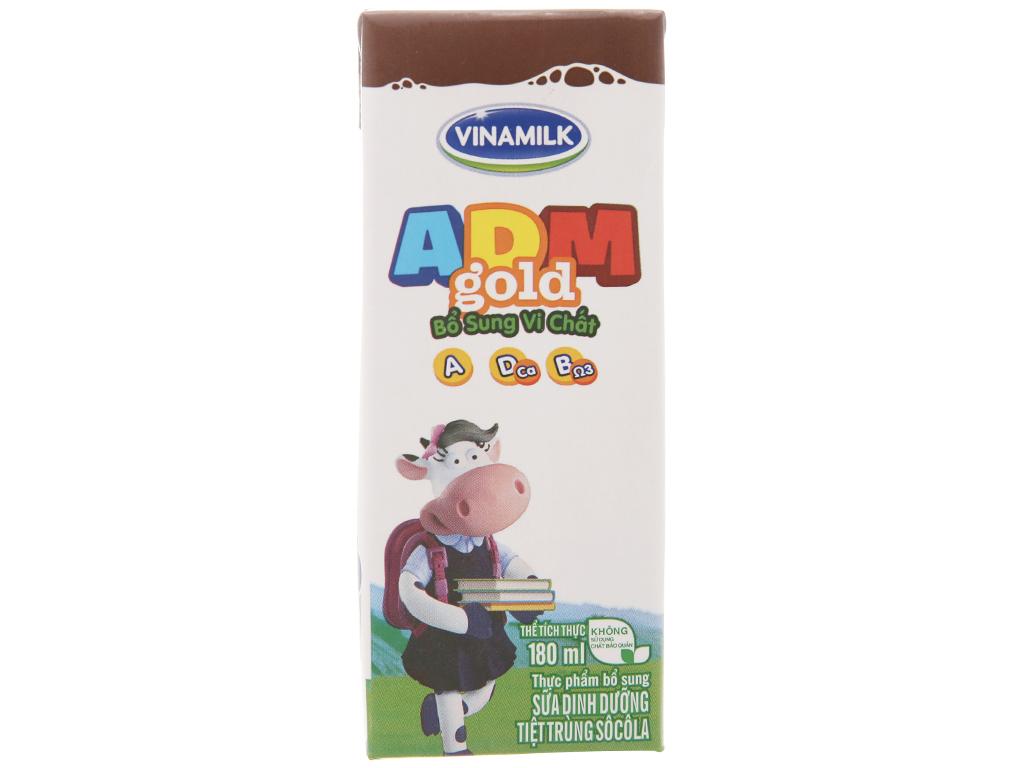 Lốc 4 hộp sữa tiệt trùng Vinamilk ADM Gold sô cô la 180ml 3