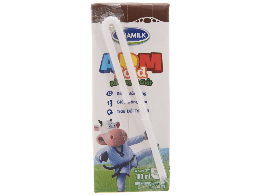 Lốc 4 hộp sữa tiệt trùng Vinamilk ADM Gold sô cô la 180ml 4