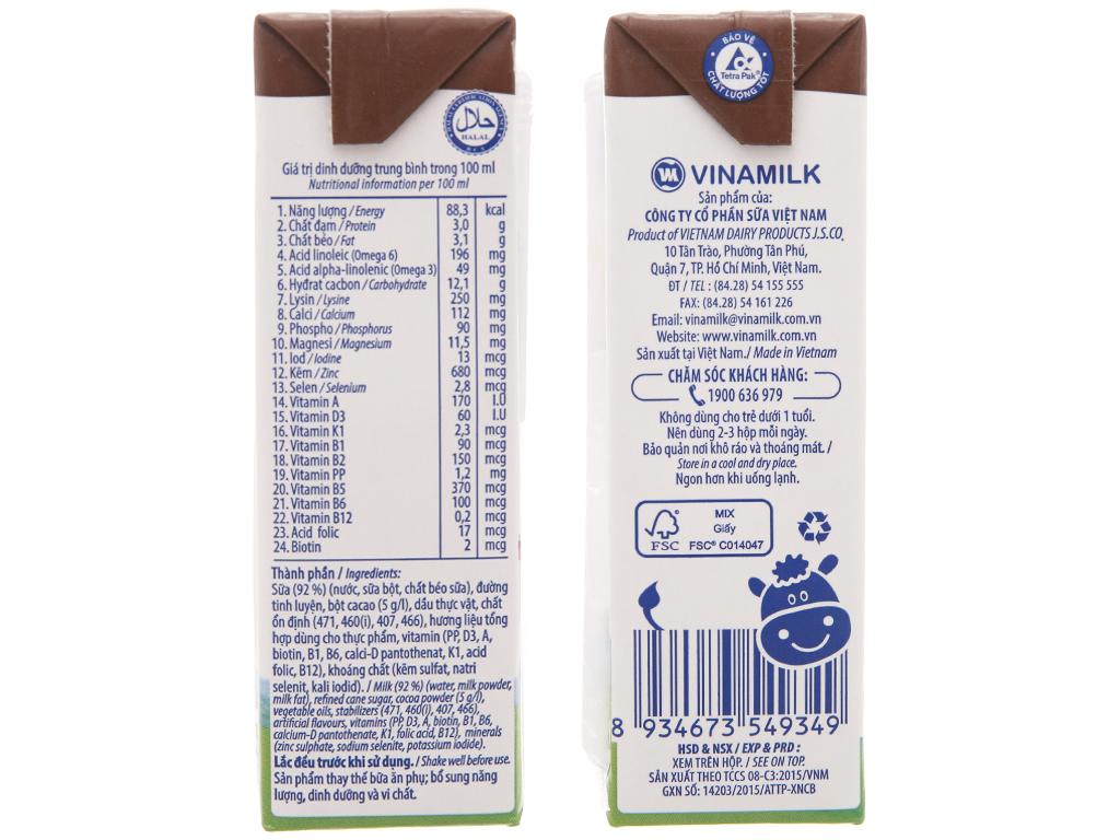 Lốc 4 hộp sữa tiệt trùng Vinamilk ADM Gold sô cô la 180ml 5