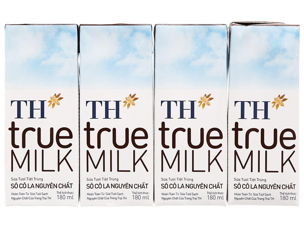 Lốc 4 hộp sữa tươi tiệt trùng socola TH true MILK 180ml 6