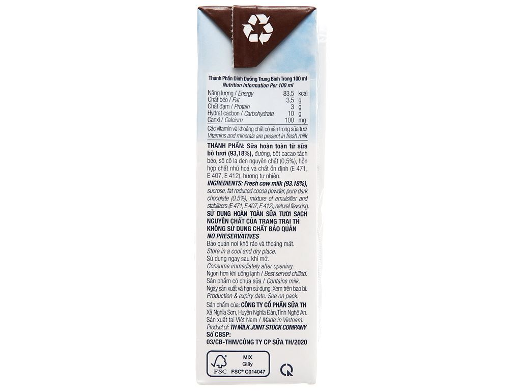 Lốc 4 hộp sữa tươi tiệt trùng socola TH true MILK 180ml 10
