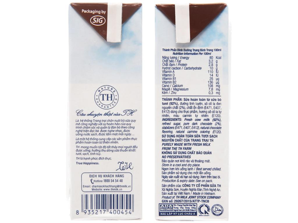 Lốc 4 hộp sữa tươi tiệt trùng socola TH true MILK 180ml 5