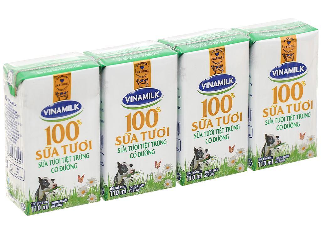 Lốc 4 hộp sữa tươi có đường Vinamilk 110ml 2