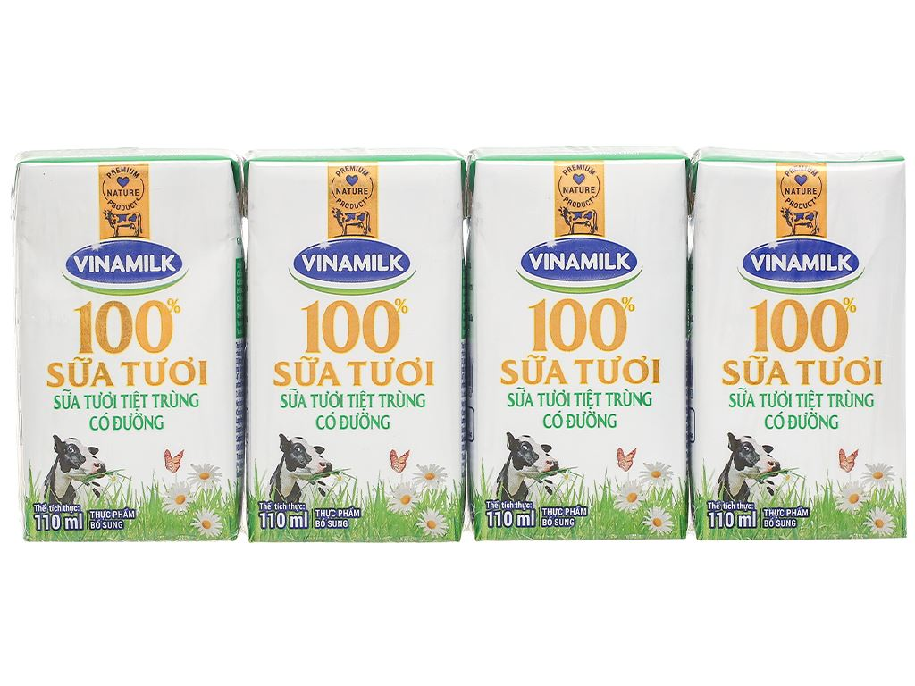 Lốc 4 hộp sữa tươi có đường Vinamilk 110ml 3