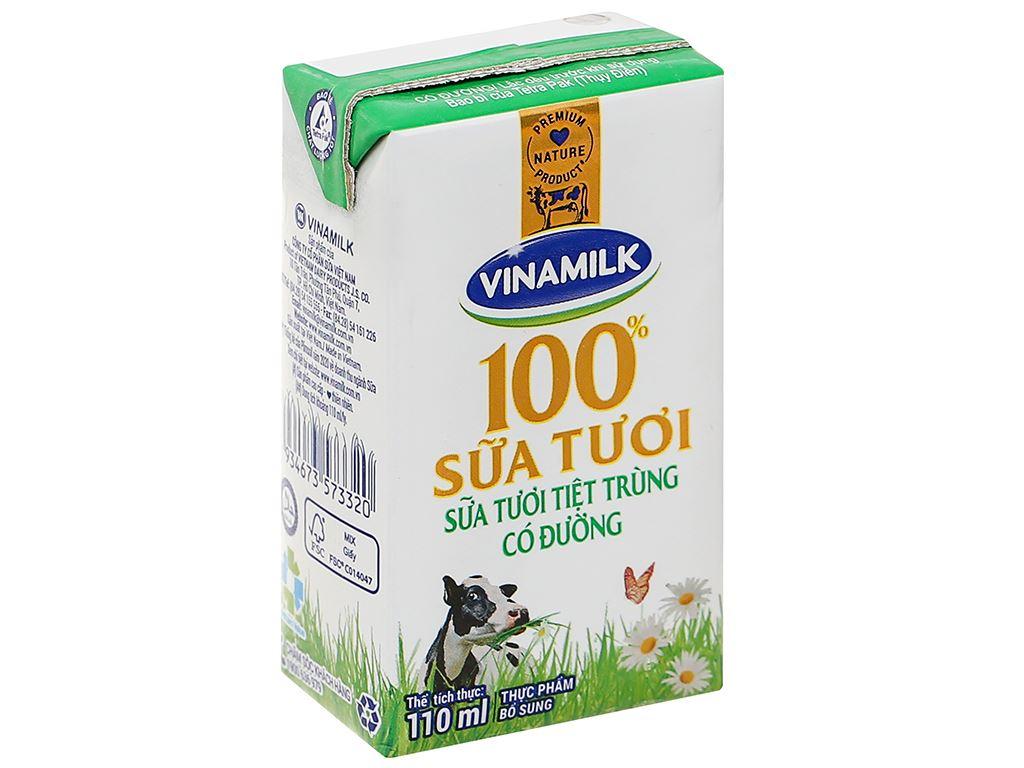 Lốc 4 hộp sữa tươi có đường Vinamilk 110ml 4
