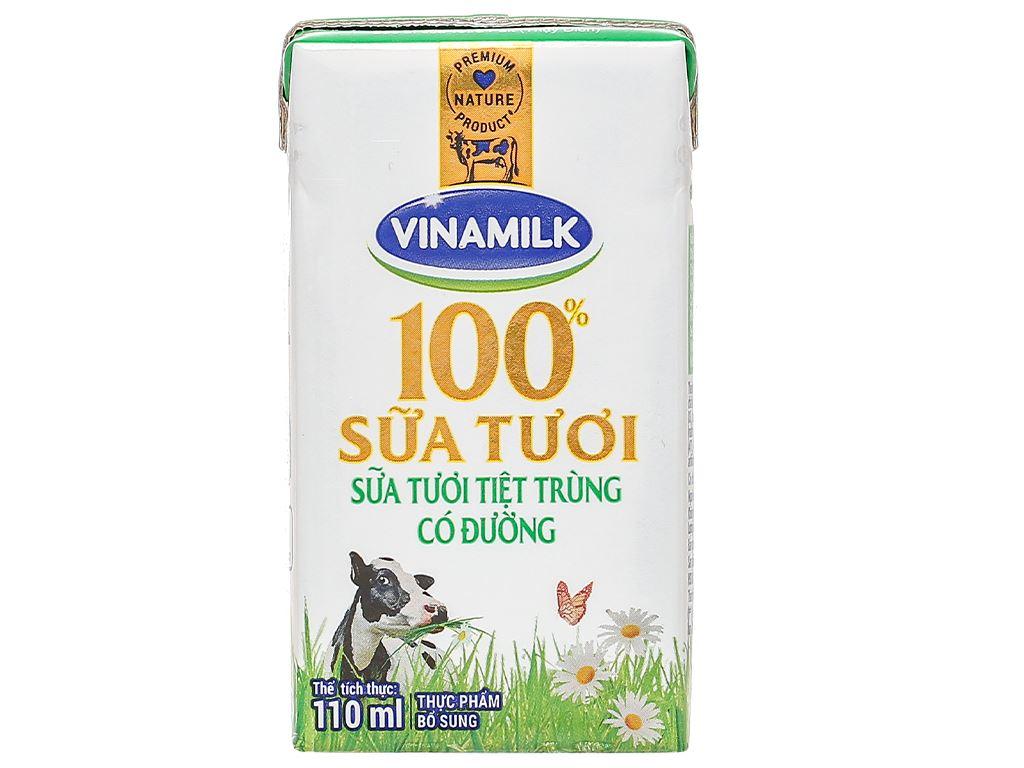 Lốc 4 hộp sữa tươi có đường Vinamilk 110ml 6
