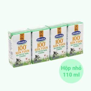 Lốc 4 hộp sữa tươi có đường Vinamilk 100% Sữa Tươi 110ml