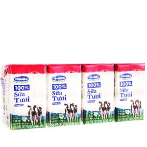 Lốc 4 hộp sữa tươi hương dâu Vinamilk 100% Sữa Tươi 110ml