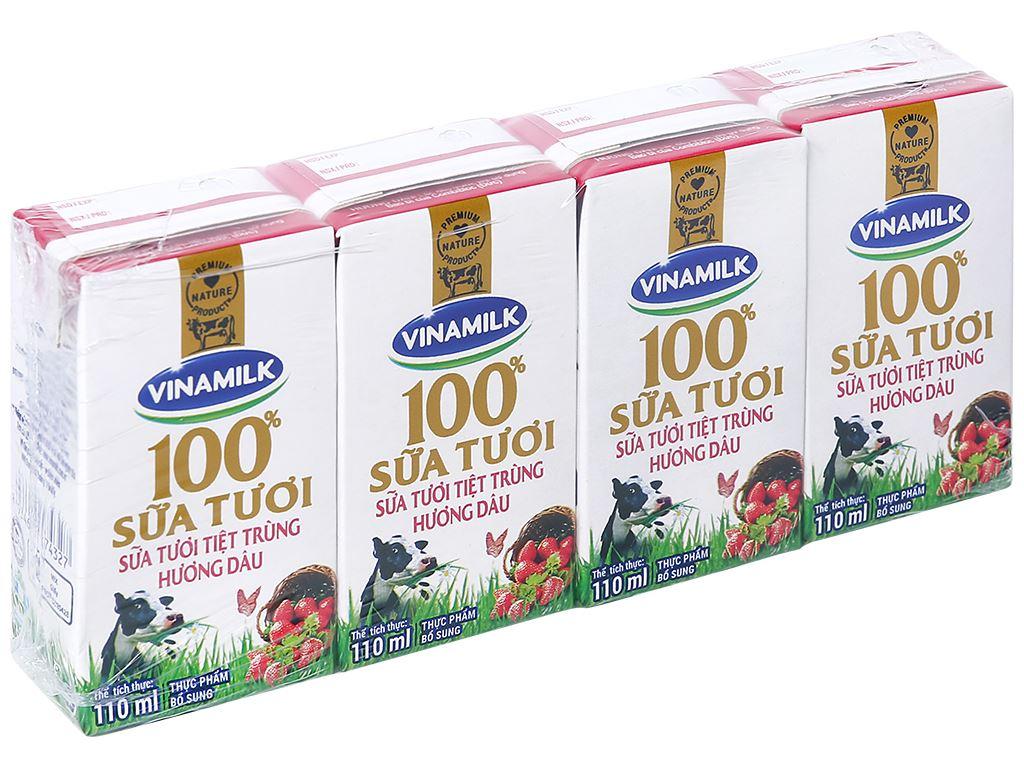 Lốc 4 hộp sữa tươi hương dâu Vinamilk 100% Sữa Tươi 110ml 1