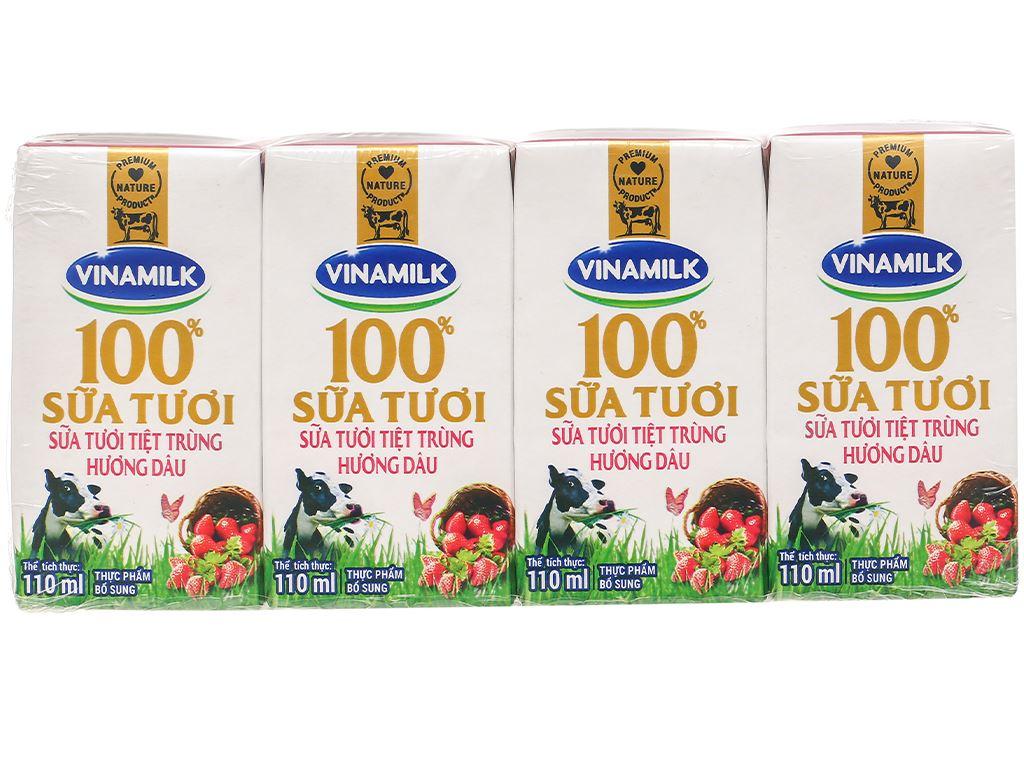 Lốc 4 hộp sữa tươi hương dâu Vinamilk 100% Sữa Tươi 110ml 3
