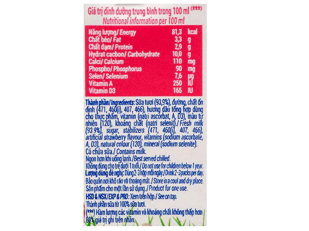 Lốc 4 hộp sữa tươi hương dâu Vinamilk 100% Sữa Tươi 110ml 10