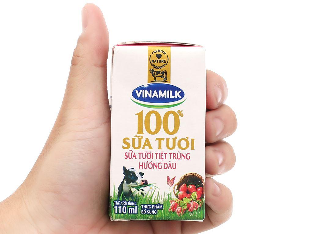 Lốc 4 hộp sữa tươi hương dâu Vinamilk 100% Sữa Tươi 110ml 11