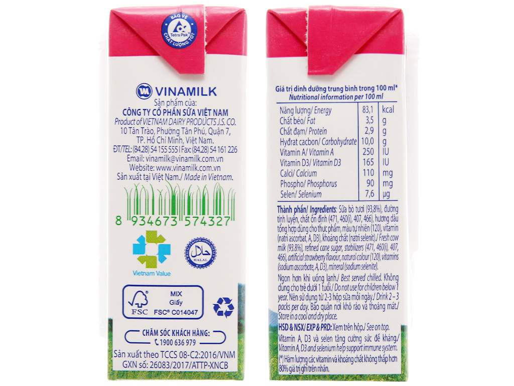 Lốc 4 hộp sữa tươi hương dâu Vinamilk 100% Sữa Tươi 110ml 5