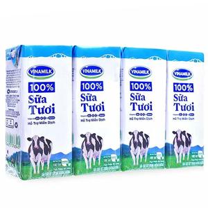 Lốc 4 hộp sữa tươi tiệt trùng không đường Vinamilk 100% Sữa Tươi 180ml