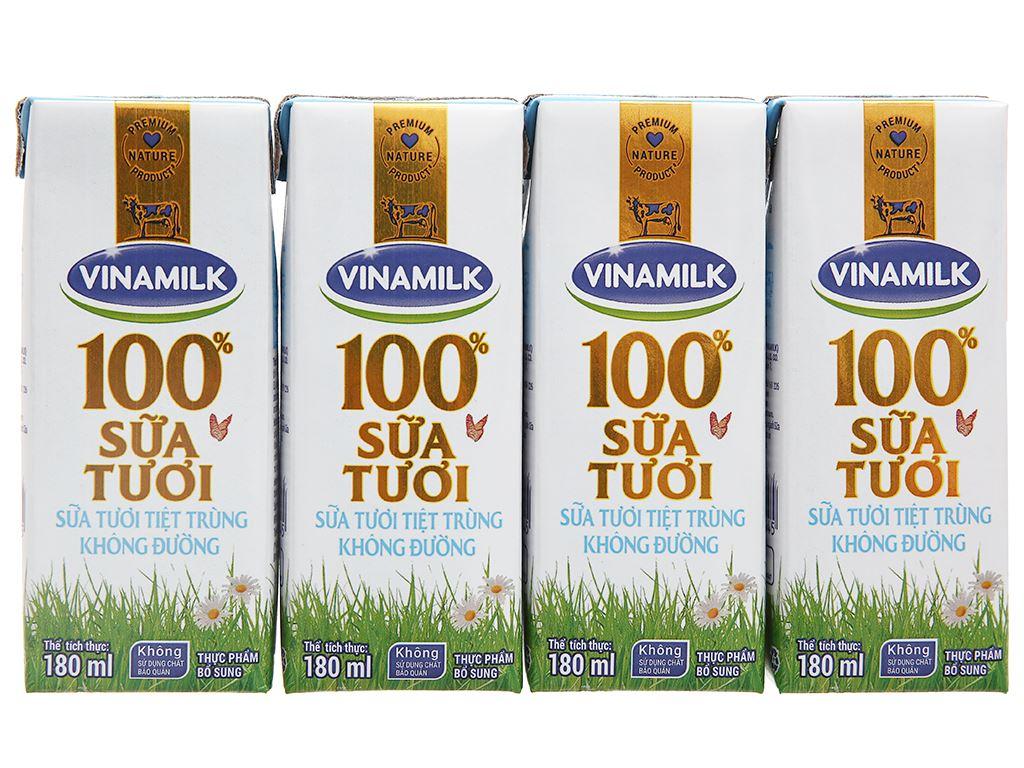 Lốc 4 hộp sữa tươi tiệt trùng không đường Vinamilk 100% Sữa Tươi 180ml 7
