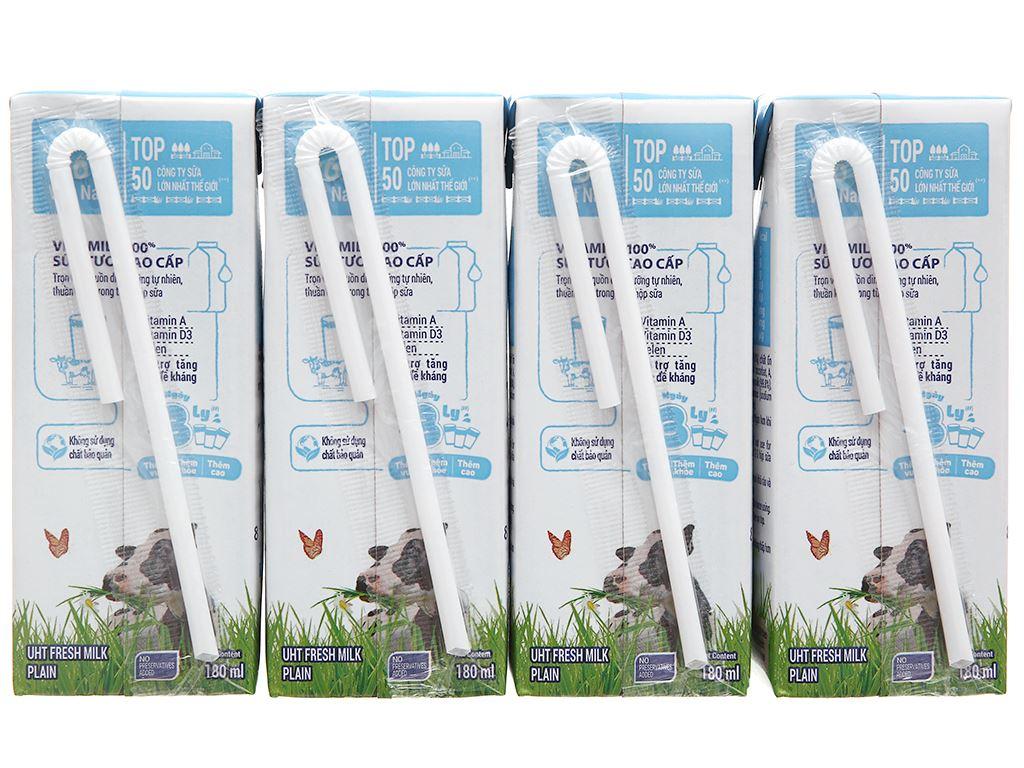 Lốc 4 hộp sữa tươi tiệt trùng không đường Vinamilk 100% Sữa Tươi 180ml 8