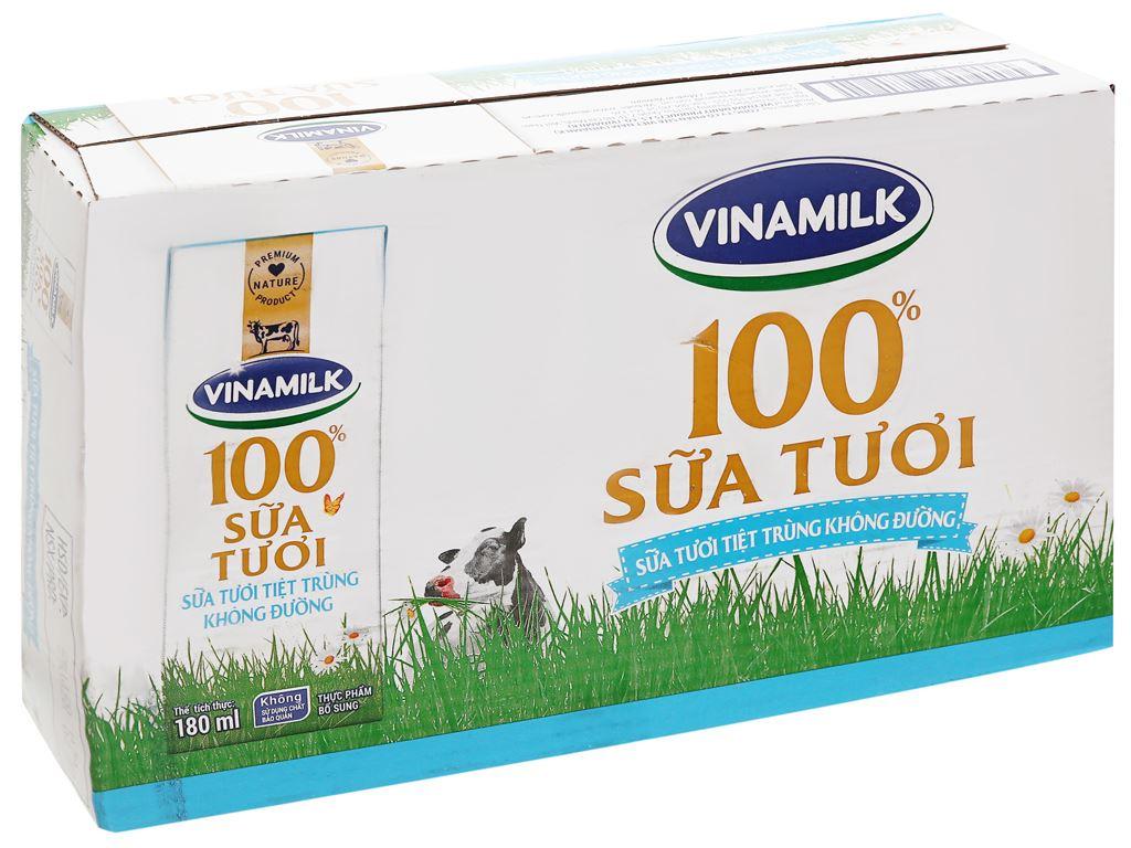 Lốc 4 hộp sữa tươi tiệt trùng không đường Vinamilk 100% Sữa Tươi 180ml 11