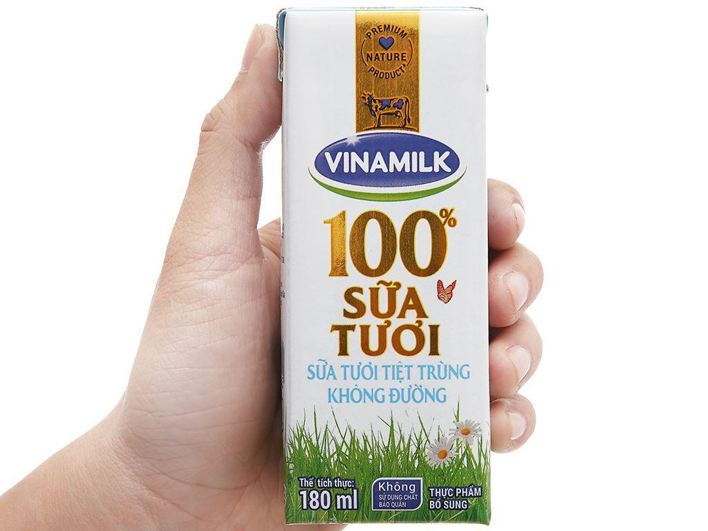 Lốc 4 hộp sữa tươi tiệt trùng không đường Vinamilk 100% Sữa Tươi 180ml 13