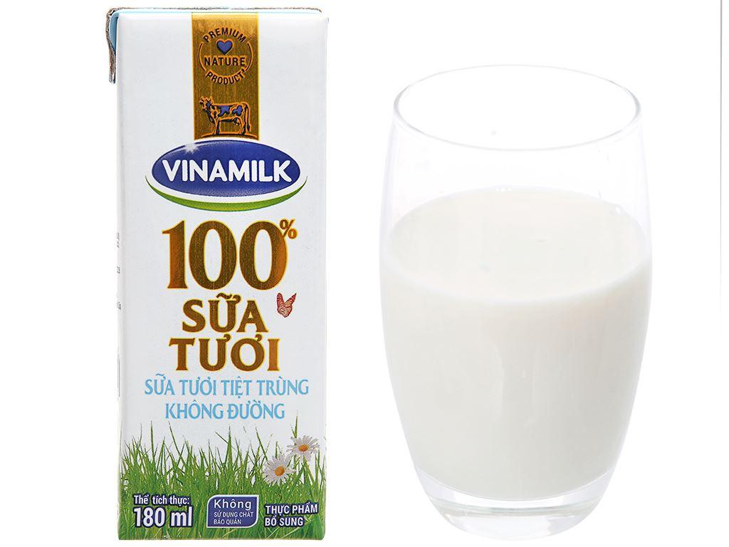 Lốc 4 hộp sữa tươi tiệt trùng không đường Vinamilk 100% Sữa Tươi 180ml 14