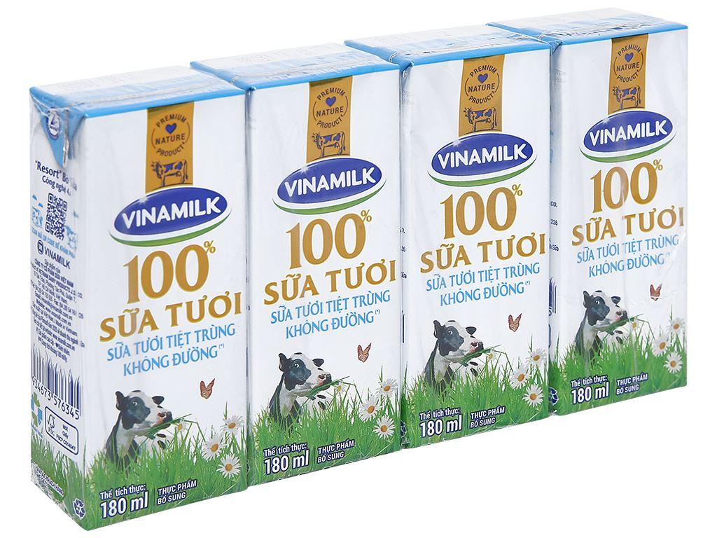 Lốc 4 hộp sữa tươi tiệt trùng không đường Vinamilk 100% Sữa Tươi 180ml 1