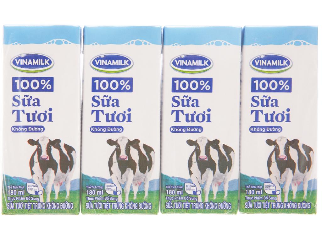 Lốc 4 hộp sữa tiệt trùng Vinamilk 100% Sữa Tươi không đường 180ml 2
