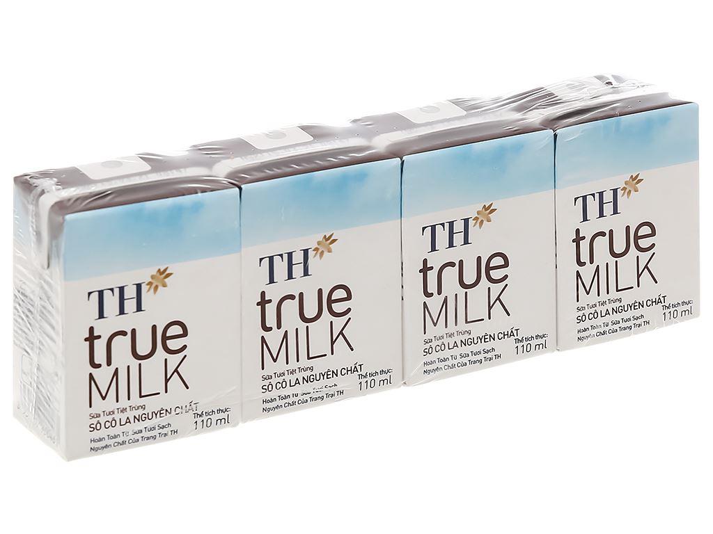Lốc 4 hộp sữa tươi tiệt trùng socola TH true MILK 110ml 1