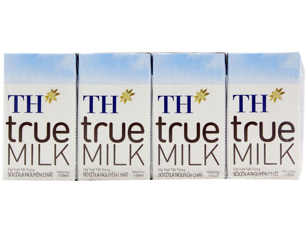 Lốc 4 hộp sữa tươi tiệt trùng socola TH true MILK 110ml 2