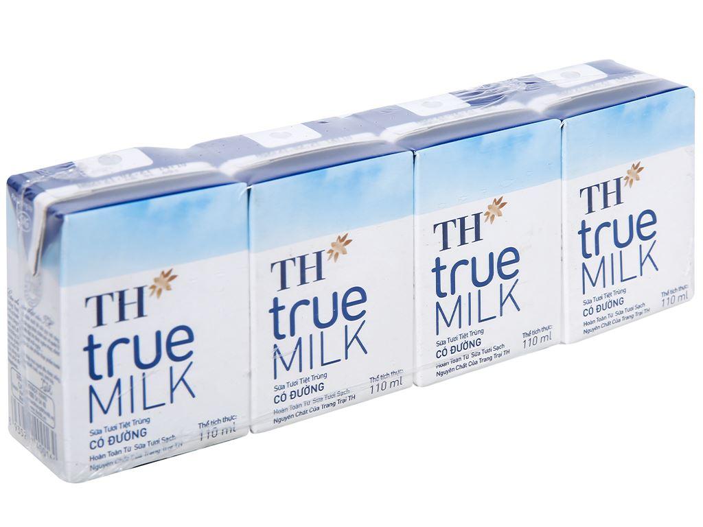 Lốc 4 hộp sữa tươi tiệt trùng có đường TH true MILK 110ml 1