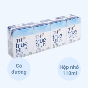 Lốc 4 hộp sữa tươi tiệt trùng có đường TH true MILK 110ml