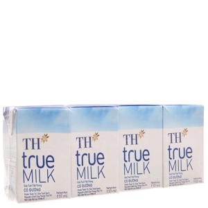 Lốc 4 hộp sữa tươi tiệt trùng TH true MILK có đường 110ml